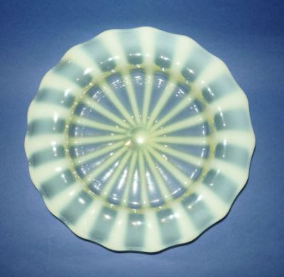 Large Richardson's boater shaped Vaseline Glass dish c1880